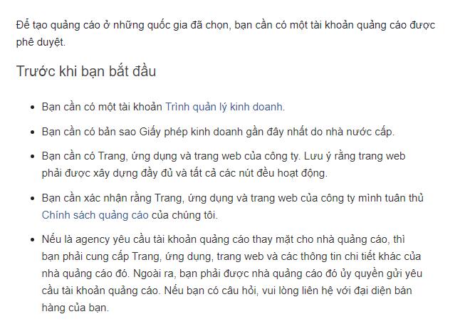 Thông báo của Facebook khi tạo tài khoản quảng cáo mới ở thị trường Việt Nam